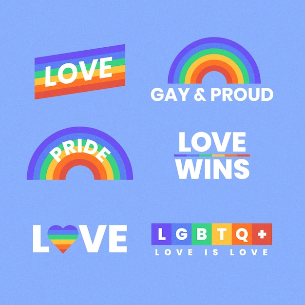 Etiquetas del arco iris del concepto del día del orgullo vector gratuito