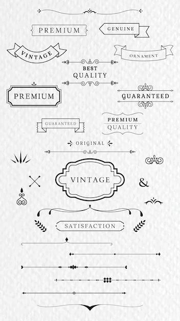 Etiquetas y banners vintage vector gratuito