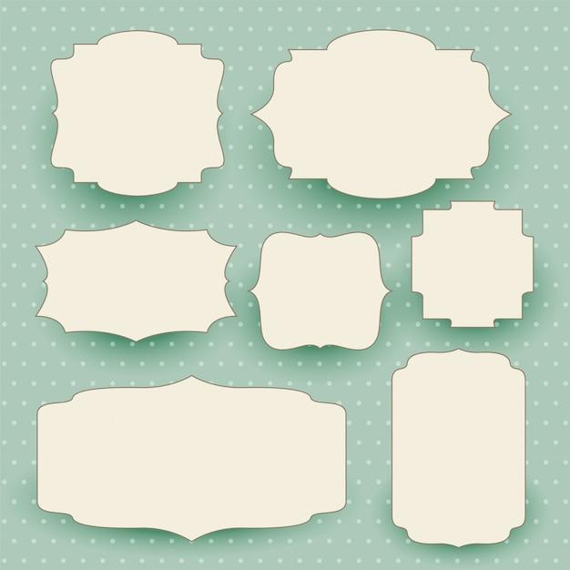 Etiquetas blancas vintage con espacio de texto vector gratuito
