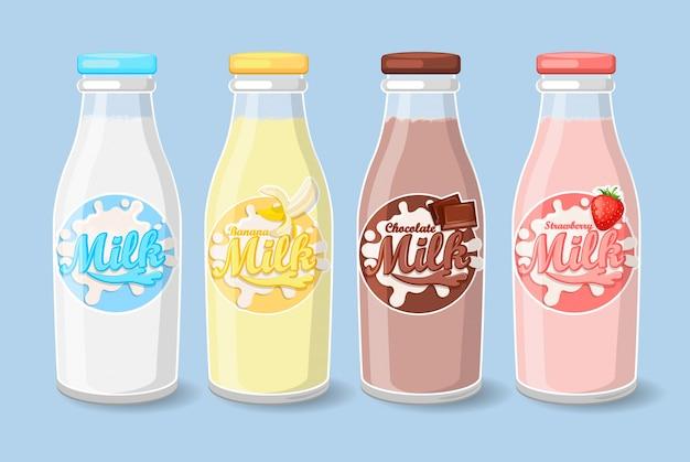 Etiquetas en botellas de leche. Vector Premium