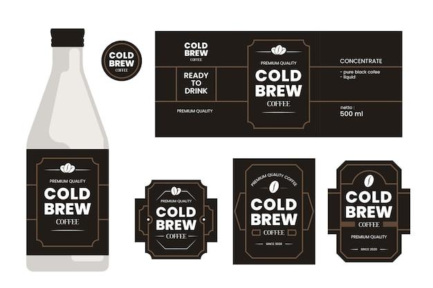 Etiquetas de café frío vector gratuito