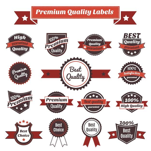 Etiquetas de calidad premium y colección de insignias. Vector Premium