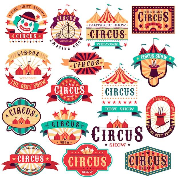 Etiquetas de circo. espectáculo de carnaval vintage, letrero de circo. festival de eventos entretenido. banner de invitación de papel, pegatinas de flecha Vector Premium