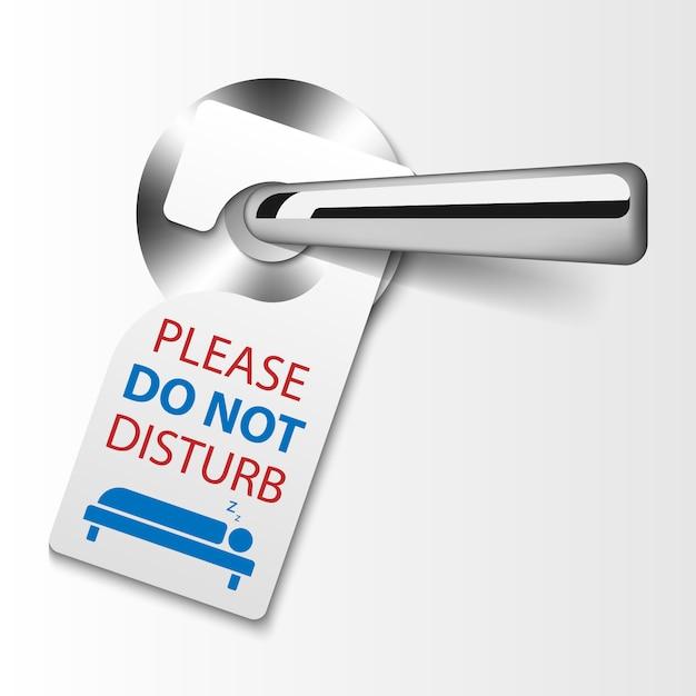 Etiquetas para colgar en la puerta, no molestar señal Vector Premium