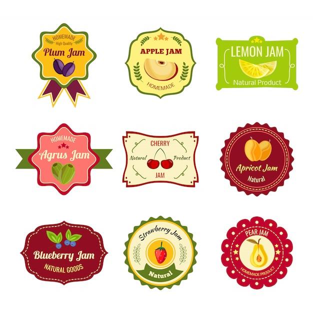 Etiquetas coloridas de mermelada natural vector gratuito