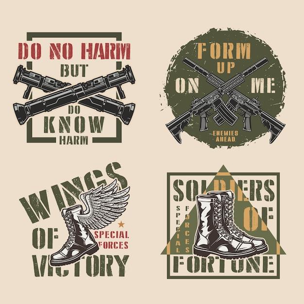 Etiquetas coloridas militares vintage vector gratuito