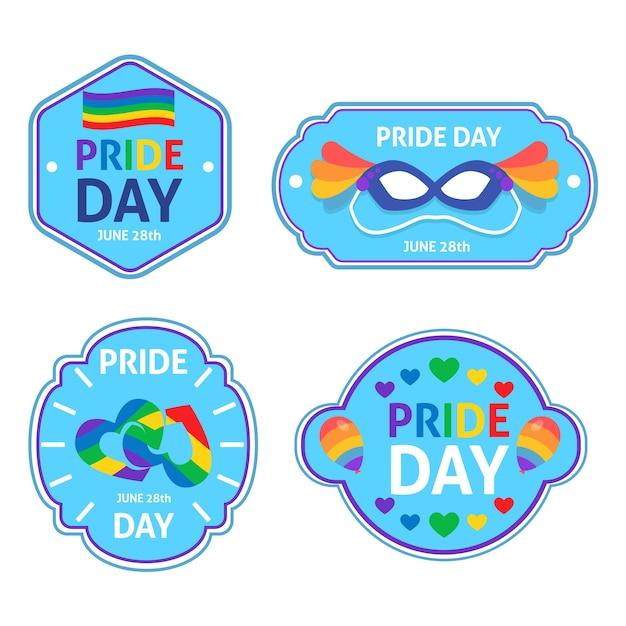 Etiquetas del concepto del día del orgullo con arco iris vector gratuito