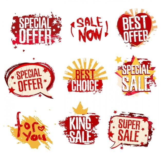 Etiquetas para conjunto de ventas Vector Premium