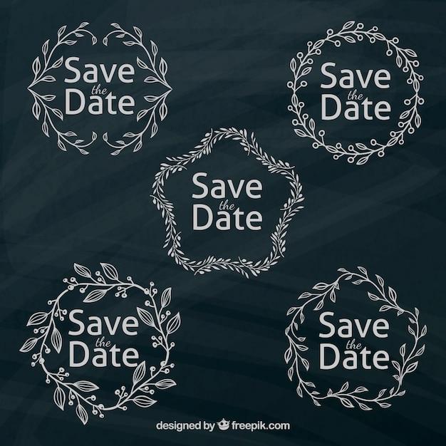etiquetas de boda modernas con marco de hojas vector gratis