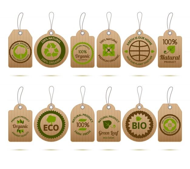 Etiquetas de ecología de cartón Vector Gratis