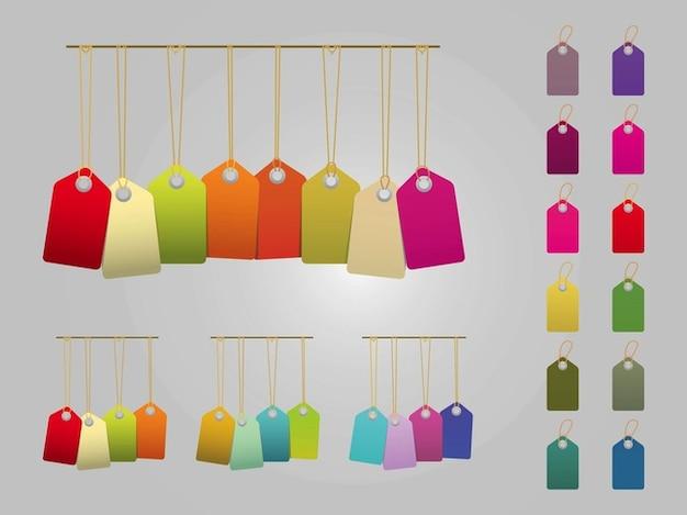 Etiquetas De La Etiqueta De Precios Coloridos En Paquete
