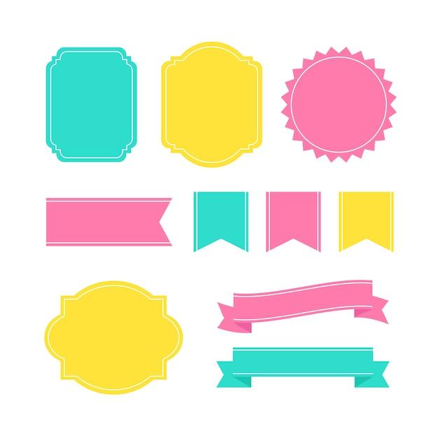 Etiquetas decorativas coloridas del marco vector gratuito