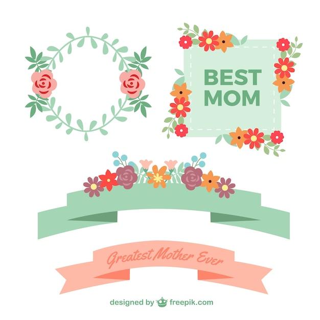 Etiquetas del día de la madre con flores | Descargar Vectores Premium
