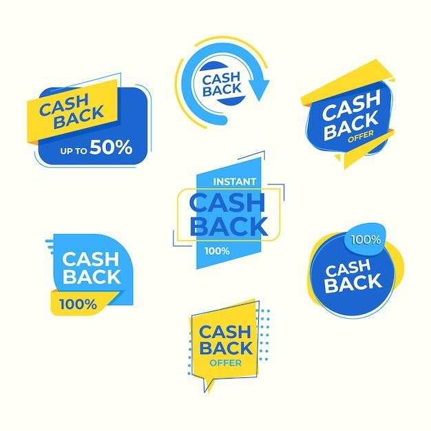 Etiquetas de devolución de dinero con 50% de descuento vector gratuito