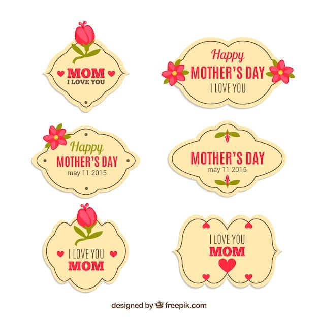 Etiquetas para el día de la madre vector gratuito