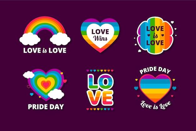 Etiquetas del día del orgullo vector gratuito