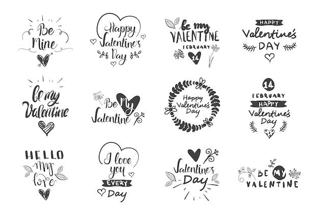 Etiquetas del día de san valentín, insignias e iconos, tarjetas de saludos de amor, conjunto de elementos de diseño de tipografía Vector Premium