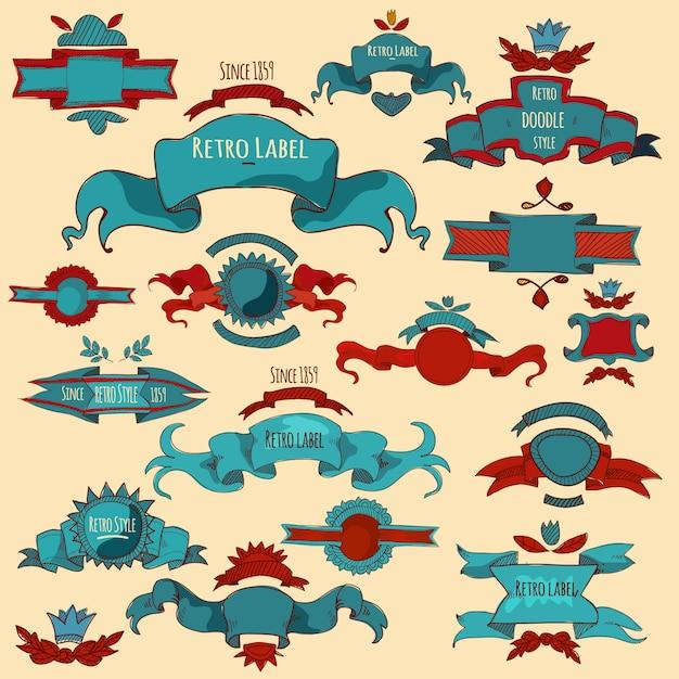 Etiquetas dibujadas a mano de color vector gratuito