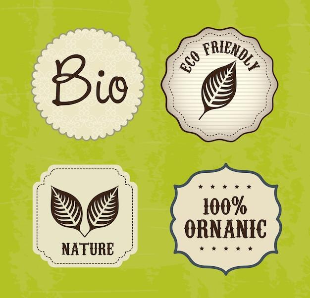 Etiquetas ecologicas Vector Premium