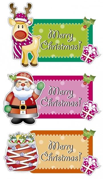 Etiquetas Feliz Navidad Descargar Vectores Gratis