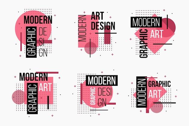 Etiquetas geométricas de diseño gráfico rosa Vector Premium