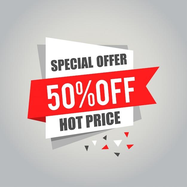 Etiquetas de gran venta con venta 50% por ciento de texto en etiquetas de etiqueta cuadrada - eps10 vector Vector Premium