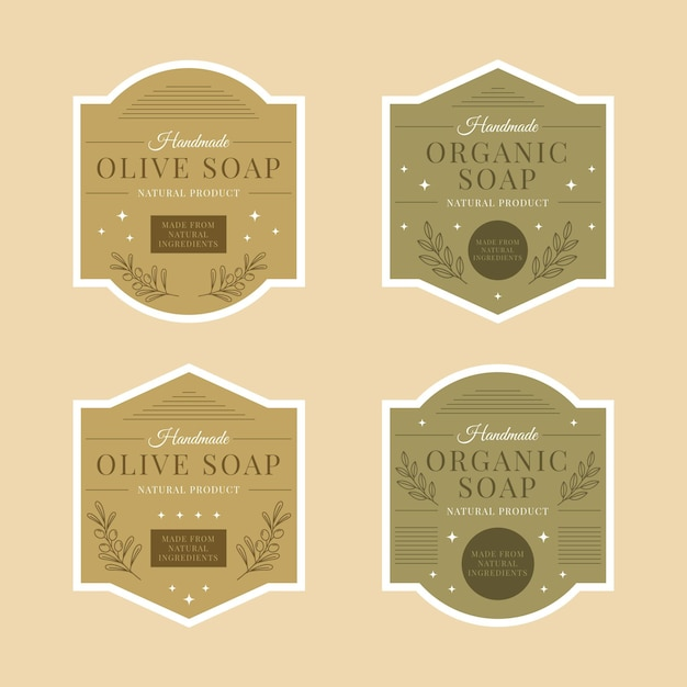 Etiquetas de jabones orgánicos con colección de hojas. vector gratuito