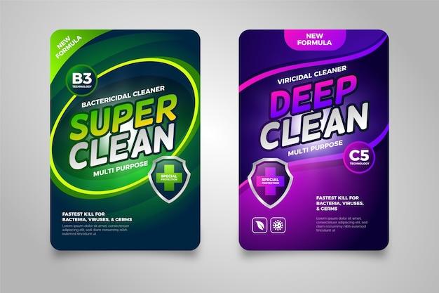 Etiquetas limpiadoras viricidas y bactericidas vector gratuito