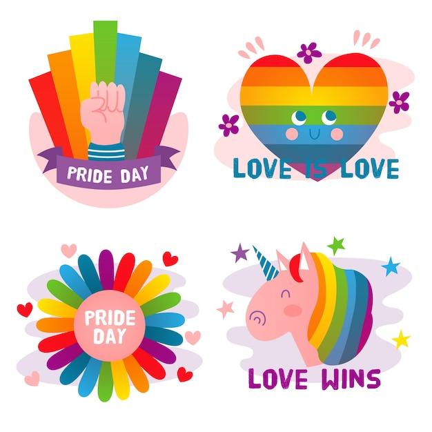 Etiquetas lindas del día del orgullo vector gratuito