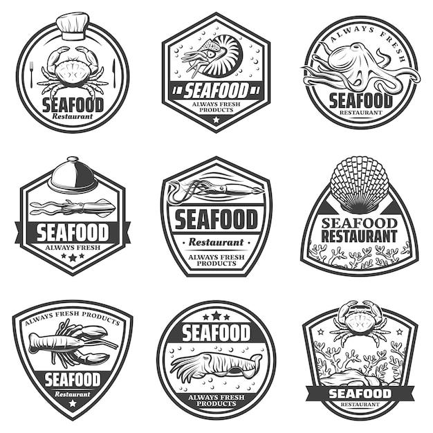 Etiquetas de mariscos monocromo vintage con cangrejo camarón pulpo calamar sepia conchas marinas langosta aislado vector gratuito