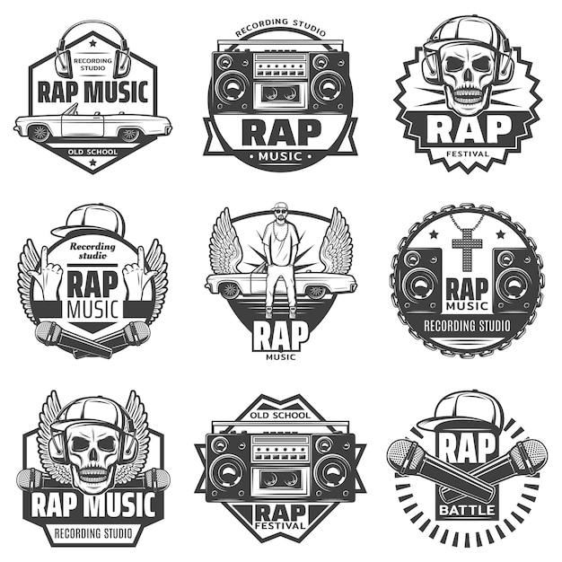Etiquetas de música rap monocromática vintage con micrófono de rapero auriculares altavoz de coche boombox cap cráneo collar de cadena aislado vector gratuito
