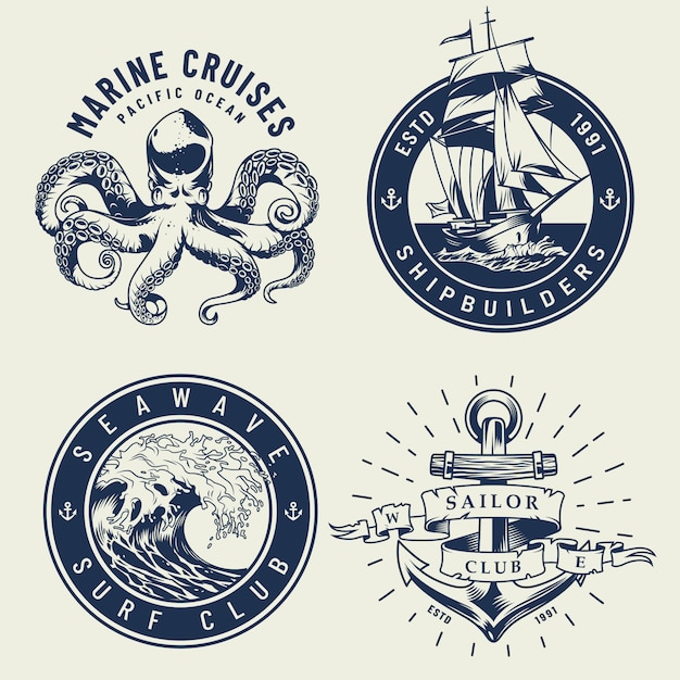 Etiquetas náuticas monocromáticas vintage vector gratuito