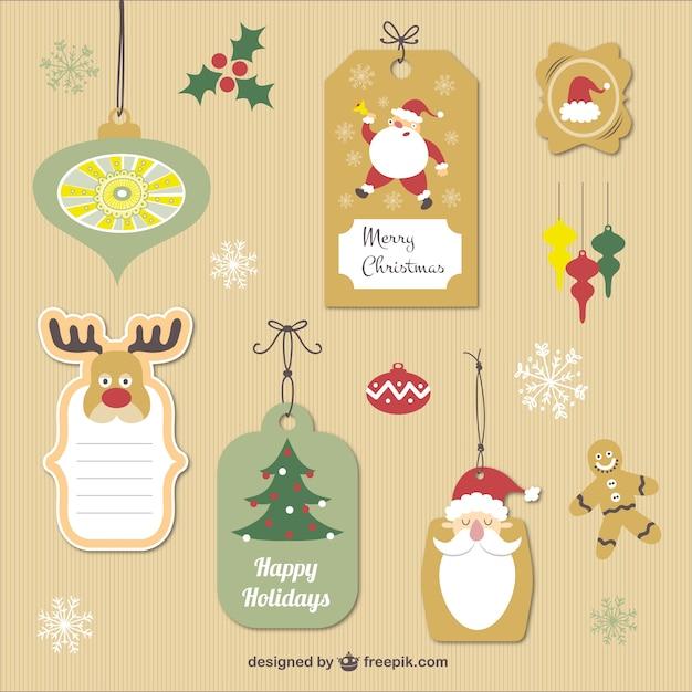 Etiquetas De Navidad Vintage Descargar Vectores Gratis - Vintage-navidad