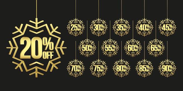 Etiquetas navideñas con copos de nieve dorados Vector Premium