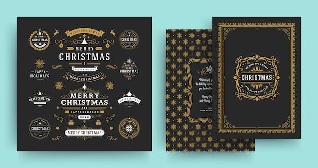 Etiquetas navideñas e insignias Vector Premium