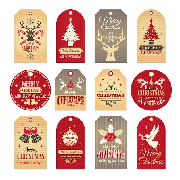 Etiquetas navideñas. etiquetas navideñas e insignias con divertidos elementos de año nuevo de invierno e ilustraciones de nieve Vector Premium
