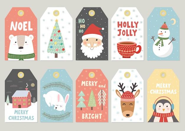 Etiquetas navideñas linda colección Vector Premium