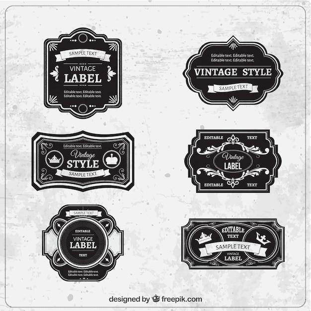 Etiquetas Negras En Estilo Vintage Vector Gratis