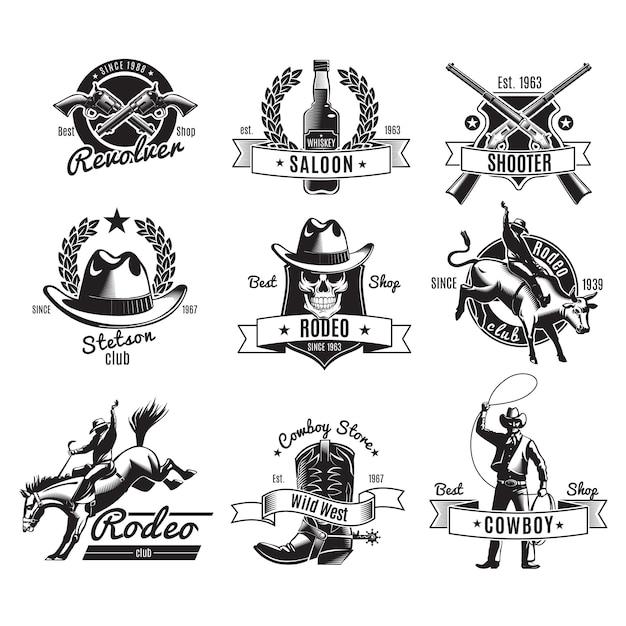 Etiquetas negras de rodeo vintage vector gratuito