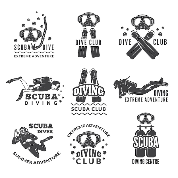 Etiquetas o logos para club de buceo. Vector Premium