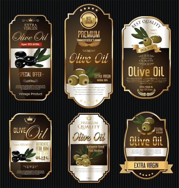 Etiquetas de oro de aceite de oliva Vector Premium