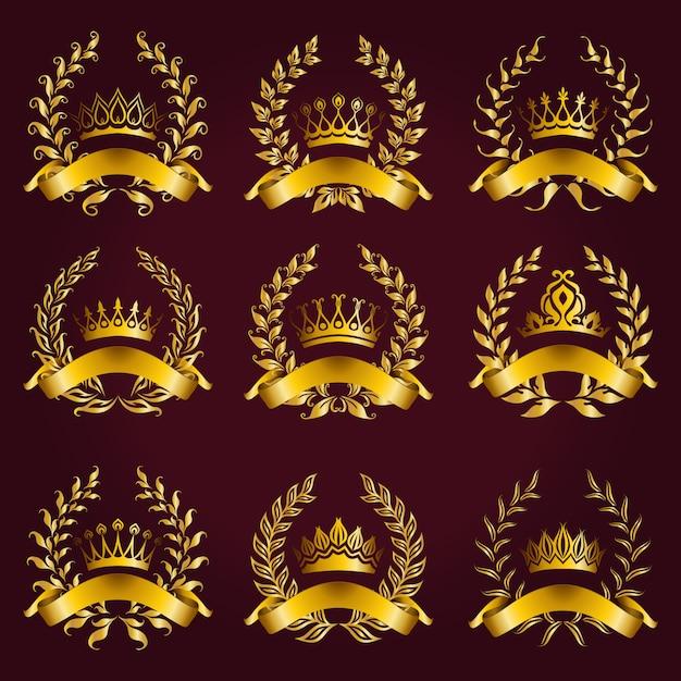 Etiquetas de oro de lujo con corona de laurel. Vector Premium