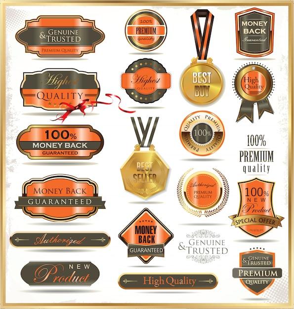 Etiquetas de oro de lujo Vector Premium