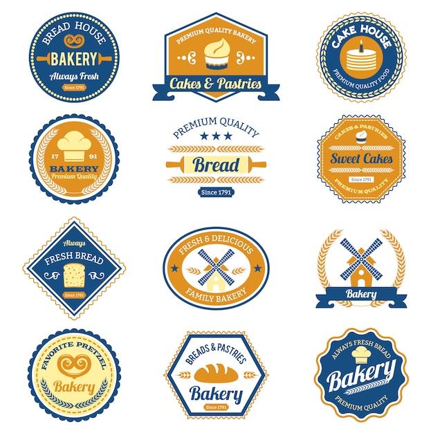 Etiquetas de panadería de la magdalena Vector Premium