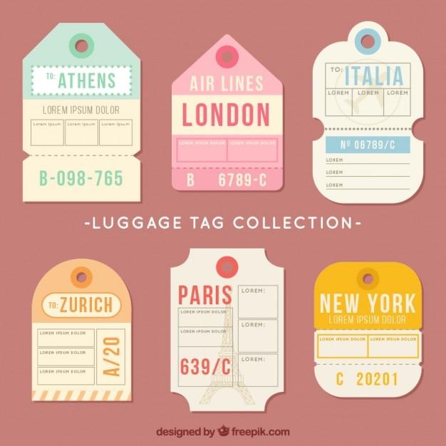 Etiquetas para viajar en dise o plano descargar vectores for Diseno de etiquetas