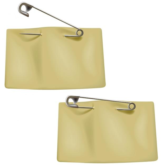 Etiquetas de precio tostado en blanco con un alfiler Vector Premium