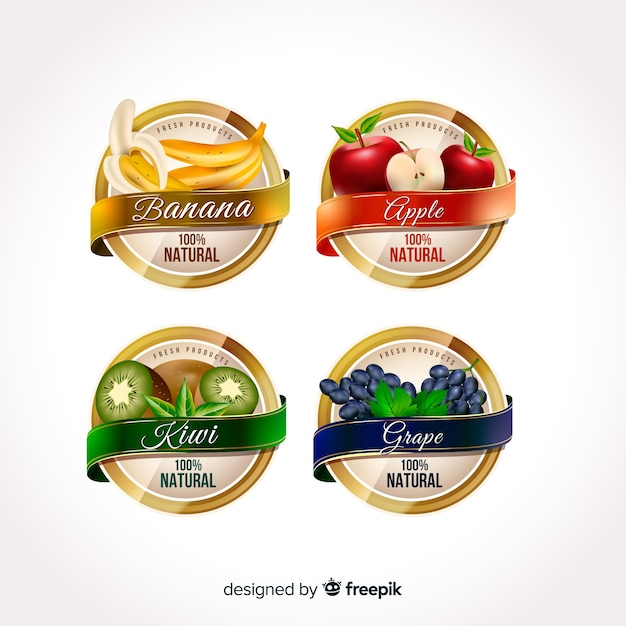 Etiquetas realistas de comida orgánica vector gratuito