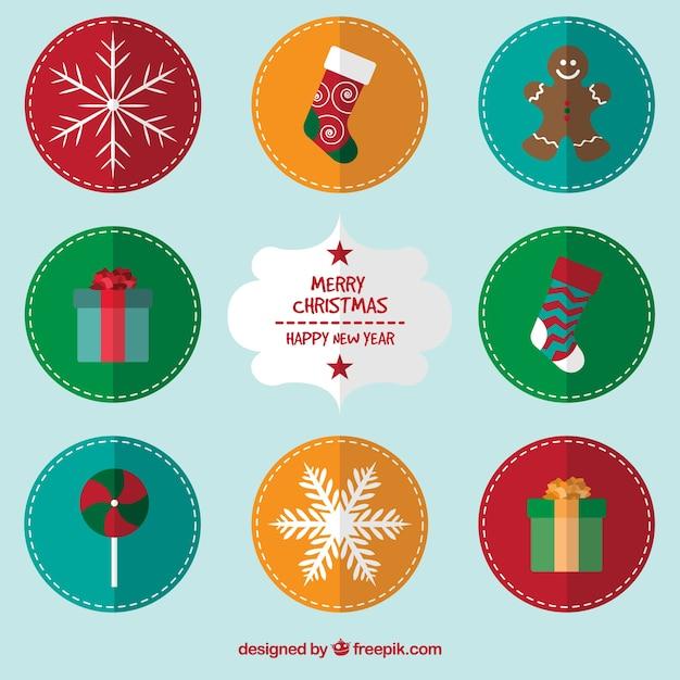 Etiquetas redondas de navidad descargar vectores gratis for Imagenes de piletas redondas