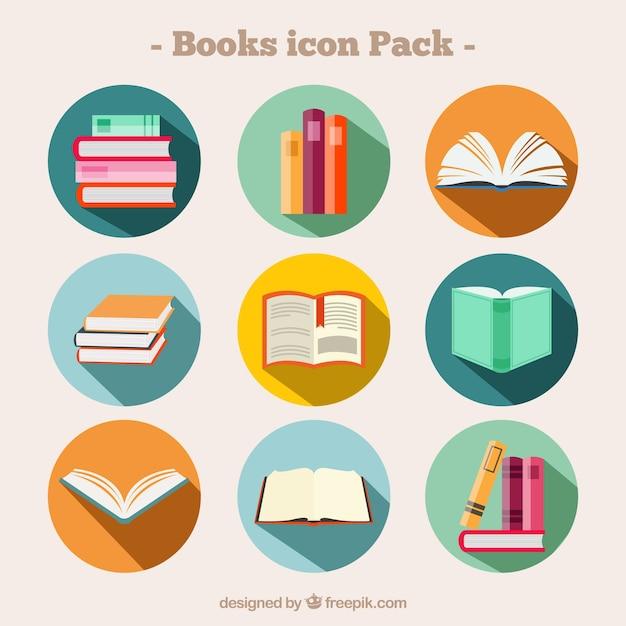 Etiquetas redondas de libros vector gratuito