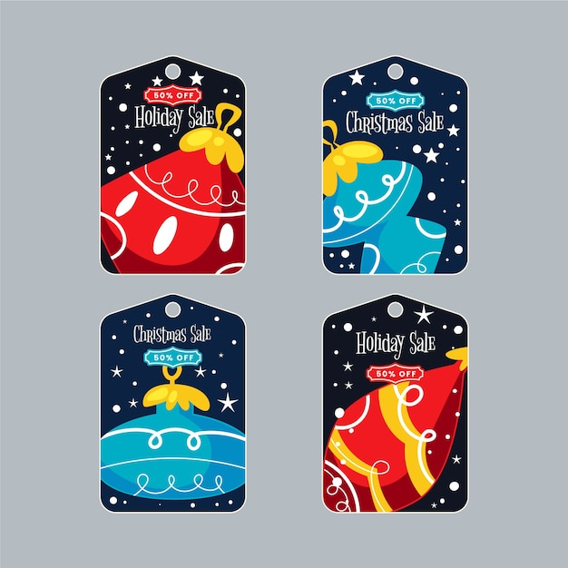 Etiquetas de regalo de navidad con bolas de navidad vector gratuito